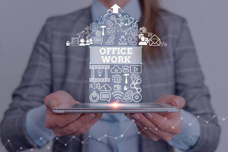 显示办公室工作的概念性手写。概念是指一个组织的任何文书或行政工作