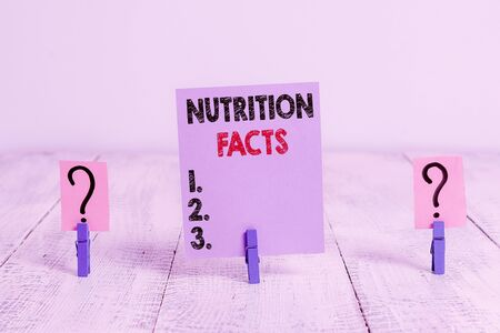 Conceptual hand writing showing Nutrition Facts. Concept meaning detailed information about a food s is nutrient content Crumbling sheet with paper clips placed on the wooden table
