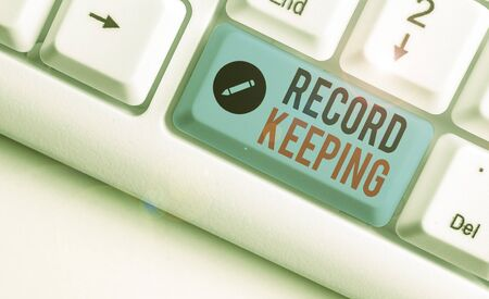 Word writing text Record Keeping. Business photo showcasing The activity or occupation of keeping records or accounts Archivio Fotografico