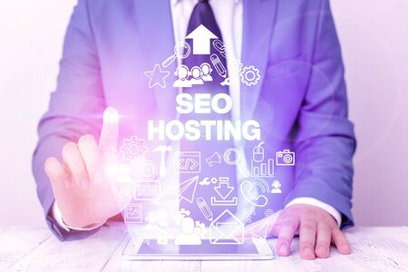 Word writing text Seo Hosting. Business photo showcasing building website in a way that is friendly for search engines