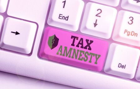 Text sign showing Tax Amnesty. Business photo showcasing limitedtime opportunity for specified group of taxpayers to pay