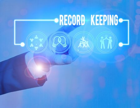 Text sign showing Record Keeping. Business photo showcasing The activity or occupation of keeping records or accounts