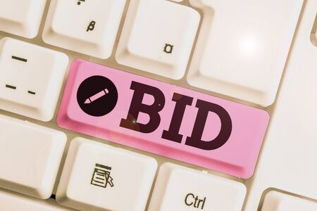 Conceptual hand writing showing Bid. Concept meaning to offer a particular amount of money for something that is for sale