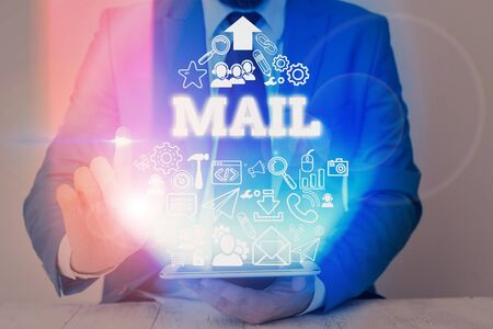 Writing note showing Mail. Business concept for letters or parcel sent or delivered by means of the postal system Banco de Imagens