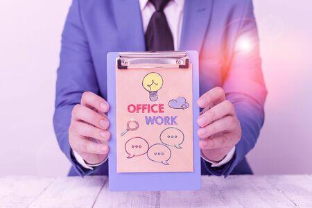 显示办公室工作的文本标志。商业照片展示组织的任何文书或行政工作