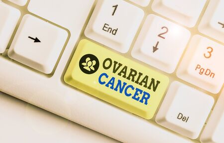 Conceptual hand writing showing Ovarian Cancer. Concept meaning any cancerous growth that forms in the tissues of the ovary Stock Photo
