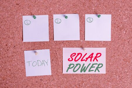 Word writing text Solar Power. Business photo showcasing the electricity produced by using the energy from the sun Corkboard color size paper pin thumbtack tack sheet billboard notice board Stock Photo