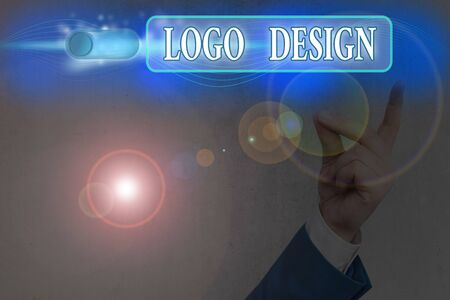Word writing text Logo Design. Business photo showcasing a graphic representation or symbol of company name or trademark Stockfoto