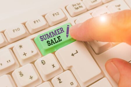 Word writing text Summer Sale. Business photo showcasing time when a store sells products at much lower prices than usual