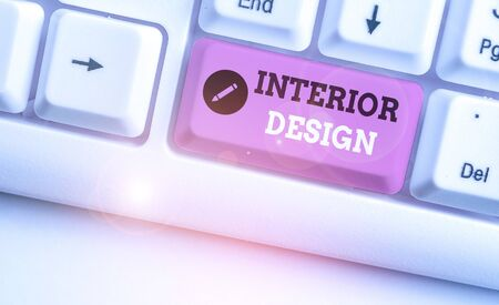 Text sign showing Interior Design. Business photo showcasing the art of designing the interior decoration of a building