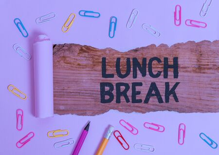 Text sign showing Lunch Break. Business photo text time when a demonstrating stops working or studying to have lunch