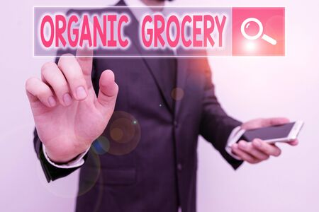Word writing text Organic Grocery. Business photo showcasing market with foods grown without the use of fertilizers Stock Photo