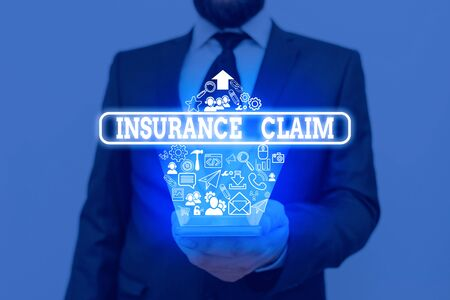 Handwriting text writing Insurance Claim. Conceptual photo coverage or compensation for a covered loss or policy event