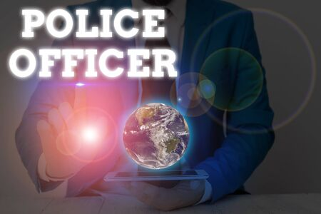 Writing note showing Police Officer. Business concept for a demonstrating who is an officer of the law enforcement team