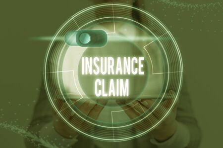 Word writing text Insurance Claim. Business photo showcasing coverage or compensation for a covered loss or policy event