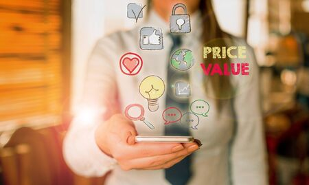 Writing note showing Price Value. Business concept for the price of a product based on what customers think or valued