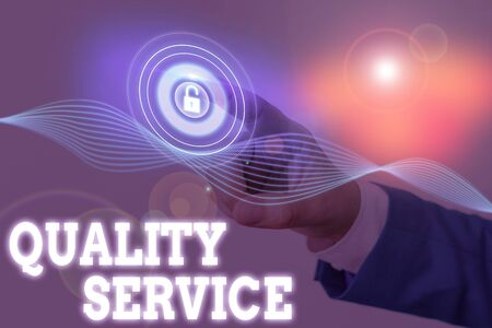 Writing note showing Quality Service. Business concept for delivered service conforms to the client s is expectations Stock Photo