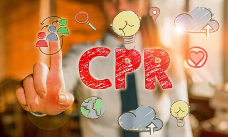 Writing note showing Cpr. Business concept for cardiopulmonary resuscitation Method used to keep someone alive