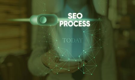Handwriting text Seo Process. Conceptual photo steps of increasing the quality and quantity of website traffic