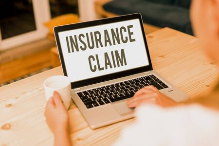 Conceptual hand writing showing Insurance Claim. Concept meaning coverage or compensation for a covered loss or policy event