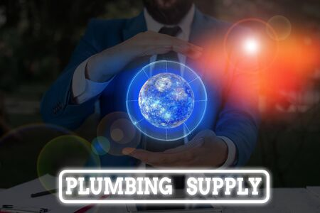 Conceptual hand writing showing Plumbing Supply. Concept meaning tubes or pipes connect plumbing fixtures and appliances