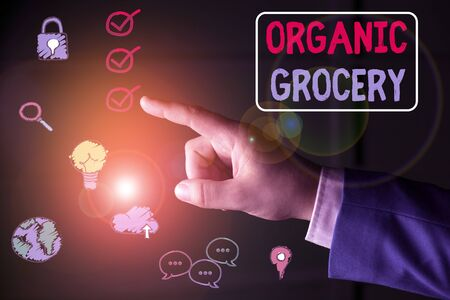 Conceptual hand writing showing Organic Grocery. Concept meaning market with foods grown without the use of fertilizers Stock Photo
