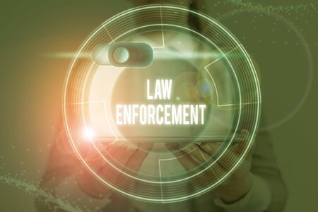Word writing text Law Enforcement. Business photo showcasing activity of making certain that the laws of an area are obey