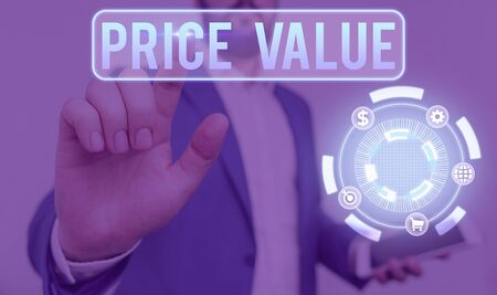 Conceptual hand writing showing Price Value. Concept meaning the price of a product based on what customers think or valued