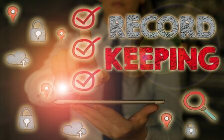 Conceptual hand writing showing Record Keeping. Concept meaning The activity or occupation of keeping records or accounts