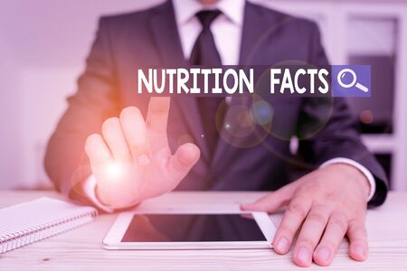 Writing note showing Nutrition Facts. Business concept for detailed information about a food s is nutrient content Male human wear formal clothes present use hitech smartphone