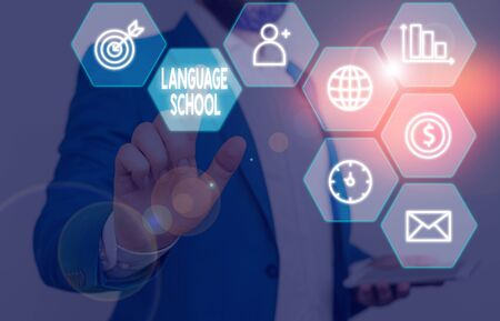 Word writing text Language School. Business photo showcasing educational institution where foreign languages are taught