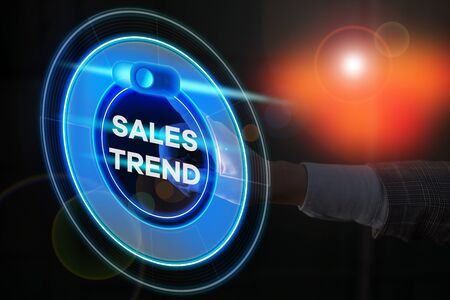 Handwriting text Sales Trend. Conceptual photo Composite data of a company s is annual sales and employment