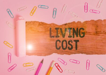 Text sign showing Living Cost. Business photo text the amount of money that a demonstrating needs to sustain life