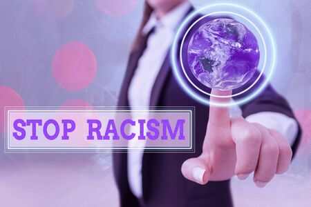 Writing note showing Stop Racism. Business concept for end the antagonism directed against someone of a different race