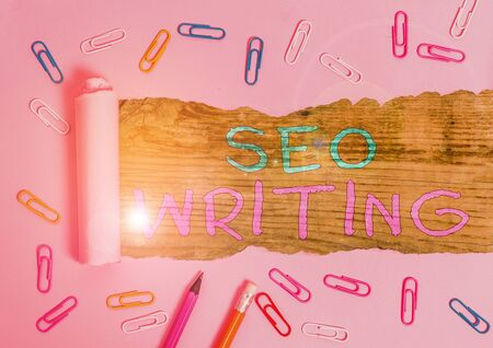 Handwriting text Seo Writing. Conceptual photo grabbing the attention of the search engines using specific word