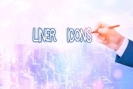 Conceptual hand writing showing Liner Icons. Concept meaning use to improve visual interest and grab the user s is attention