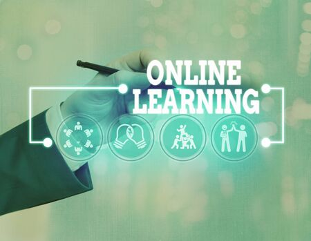 Conceptual hand writing showing Online Learning. Concept meaning educational tool based on and accessible from the Internet 스톡 콘텐츠