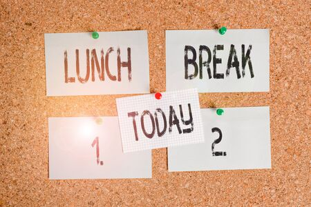 Conceptual hand writing showing Lunch Break. Concept meaning time when a demonstrating stops working or studying to have lunch Corkboard size paper thumbtack sheet billboard notice board