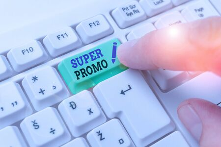 Word writing text Super Promo. Business photo showcasing piece of publicity or advertising in the form of a short film