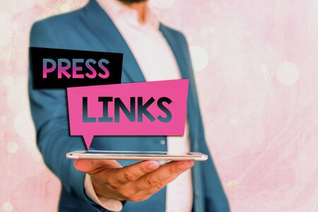 Text sign showing Press Links. Business photo showcasing intended to manipulate a site s is ranking in online search