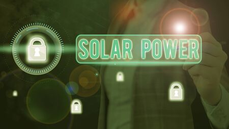 Word writing text Solar Power. Business photo showcasing the electricity produced by using the energy from the sun