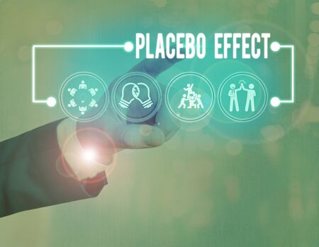 Text sign showing Placebo Effect. Business photo showcasing a beneficial effect produced by a placebo drug or treatment