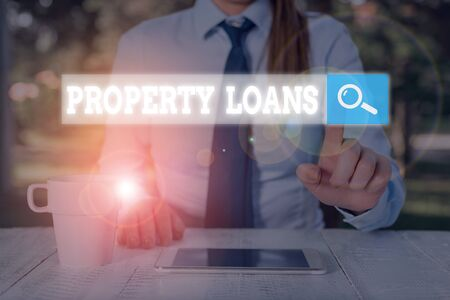 Conceptual hand writing showing Property Loans. Concept meaning a loan used to buy land or buildings and infrastructures