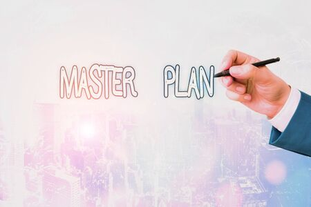 Conceptual hand writing showing Master Plan. Concept meaning dynamic longterm planning document Comprehensive plan of action
