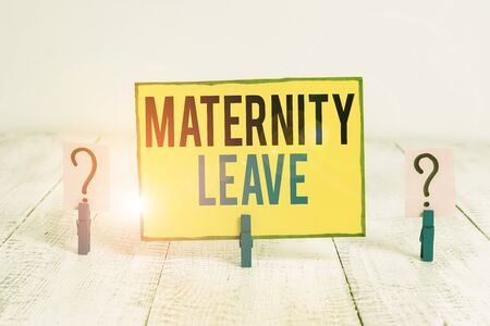 Word writing text Maternity Leave. Business photo showcasing the leave of absence for an expectant or new mother Scribbled and crumbling sheet with paper clips placed on the wooden table