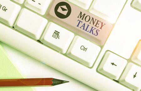Word writing text Money Talks. Business photo showcasing the wealth gives power and influence to those who possess it