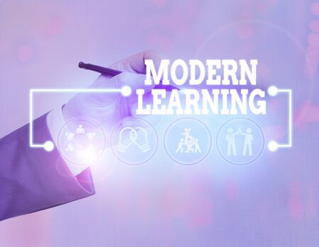 Conceptual hand writing showing Modern Learning. Concept meaning flexible and agile setup Innovative learning environments