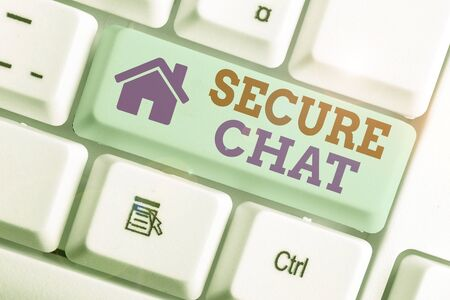 Conceptual hand writing showing Secure Chat. Concept meaning approach to protect messages when sent beyond the corporate