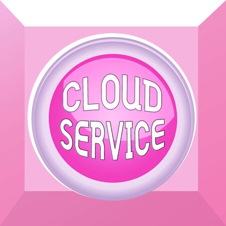 Conceptual hand writing showing Cloud Service. Concept meaning refers to variety of resources provided over the internet Colored sphere switch center background middle round shaped