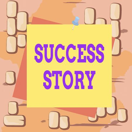 Word writing text Success Story. Business photo showcasing someone or something that has attain a goal Successful demonstrating Reminder color background thumbtack tack memo attached office pin square